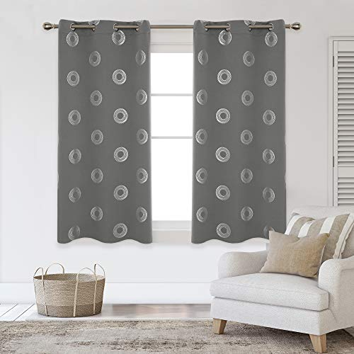 Deconovo Silver Concentric Circles Foil Print Blackout Curtains Grommet Light Blocking Curtain Room Darkening Noise Reducing Window Draperies for Living Room 42W x 54L Inch Set of 2 Panels Light Grey