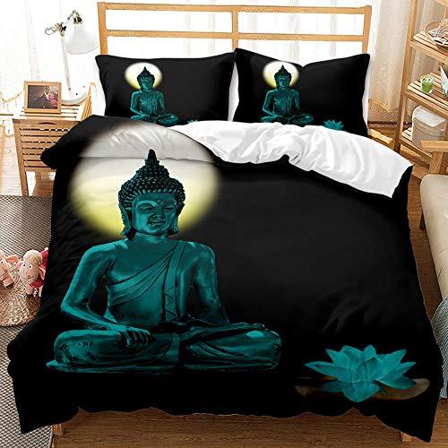 Bedclothes-Blanket Juego de sabanas Cama 150,Sandwapping 3D Digital Print Redding Golden Buddha Statue-9_210 * 210cm