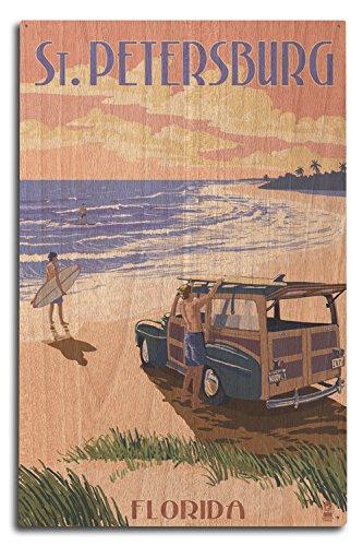 Lantern Press St. Petersburg, Florida - Woody On The Beach (10x15 Wood Wall Sign, Wall Decor Ready to Hang)