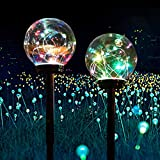 Garden Solar Lights Pathway Outdoor,Solar Colour Changing Globe Powered Garden Lights Decorative Yard Art Waterproof LED Lights for Yard Patio Walkway Landscape Pathway Lawn Decorations (2 Pack)