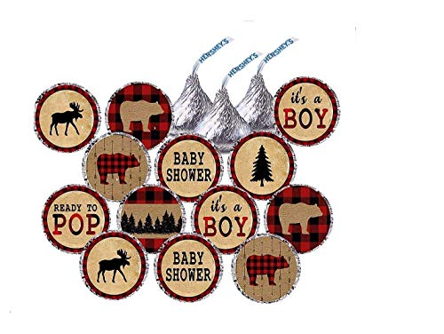 Lumberjack Inspired Hersheys Kisses Stickers - Lumberjack Decorations - Party Favors - Baby Shower - First Birthday - Party Labels