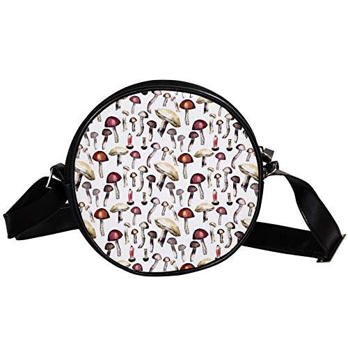 Borsa a tracolla rotonda piccola da donna, alla moda, borsa a tracolla in tela, accessorio per donna, motivo fungo selvatico dipinto a mano