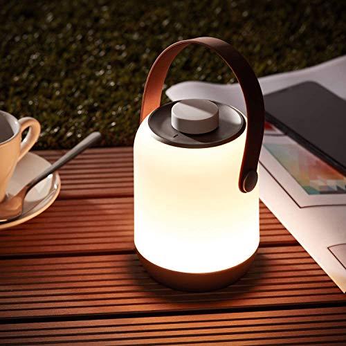 Lightbox Akku Outdoor Lampe - kabellose LED Tischlampe, dimmbar, mit Spritzwasserschutz, per USB aufladbar, 120 Lumen, 3000 Kelvin, Kunststoff