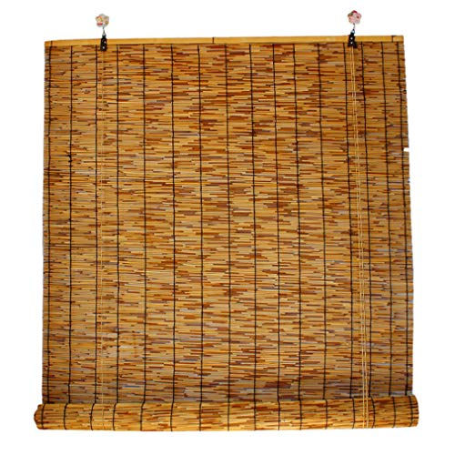 Geovne Persianas de Caña Persianas Enrollables,Estores de Bambú Estores Enrollables Romanas,Persiana Enrollables Naturales Decoración Interior/Exterior Persianas de Bambu (120x200cm/47x79in)