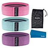 ULTRA ACTIVE Fabric Resistance Hip Bands, Set of 3 (Pink/Teal/Purple)