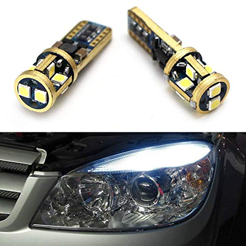 iJDMTOY (2) 10-SMD-5630 2825 W5W T10 Canbus Error Free LED Replacement Bulbs Compatible With Audi BMW Mercedes Porsche Parking Lights, License Plate Lights, Xenon White