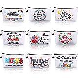 9 Pieces Funny Makeup Bags Nurse Cosmetic Bag Canvas Letters Zipper Organizer Pouch for Handbags Printing Pencil Bag Nurse Practitioner Presents