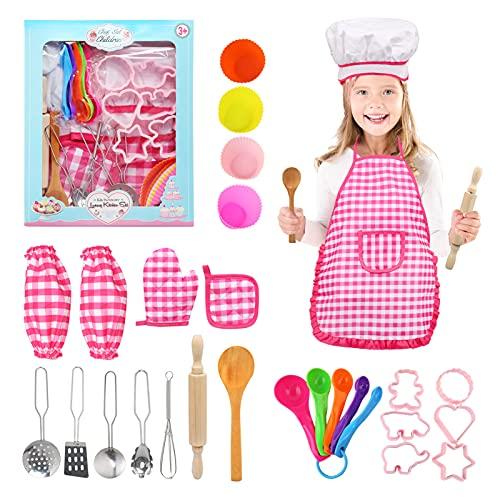 NEWSTYLE Grembiule Cucina Bambini, 27 Pezzi Chef Gioco di Ruolo Set Cucina, Set Chef Bambina Cuoco Accessori Cucina Bambini Kit Set da Cucina Giochi Gioco di Ruolo Regalo per Bambini 3-12 Anni