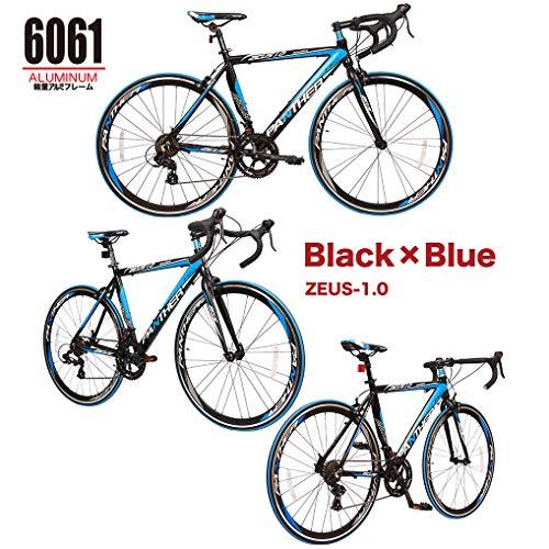 PANTHER(パンサー)ロードバイク多色/3サイズ選択可シマノ14段変速装備STIデュアルコントロール超軽量異型アルミフレーム700C×25C適応身長160cm以上前後クイックリリース搭載ドロップハンドルコスパ最強モデルメーカー保証1年(Black&Blue,470mm(M))