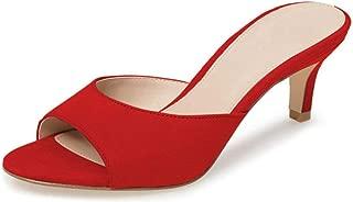 Fericzot Low Heel Mules Slip on Kitten Peep Toe Sandals Dress Pump Slides Backless Slingback Summer Slipper for Women