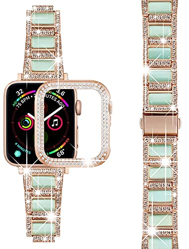 Sresrrw Diamante Correa para Apple Watch 42 mm + funda, joyería de gemas moda mujer con brillantes diamantes imitación acero inoxidable para iWatch Series 6/5/4/3/2/1/SE (azul, 42 mm)
