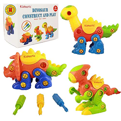 Kidtastic Dinosaur Toys - STEM Learning Original (106 pieces), 3 pack Take Apart Fun, Construction Engineering Building Play Set For Boys Girls Toddlers, Best Toy Gift Kids Ages 3yr – 6yr, 3 Year olds