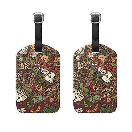 Muooum Casino Dollar Poker Craps Gepäckanhänger, Reiseetiketten, Koffer, Taschen, Anhänger mit Namen, Adresskarten, 2 Stück