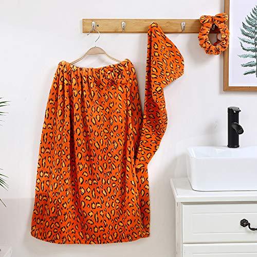 Gxeb Doble Cara Coral Lana Leopardo Impresión Baño Toalla Venda Pelo Gorra Envuelto Falda Espesado Absorbente Baño Toalla X/B*2/76 * 138cm