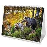Bärenzauber DIN A5 Tischkalender für 2021 Bären - Geschenkset Inhalt: 1x Kalender, 1x Weihnachts- und 1x Grußkarte (insgesamt 3 Teile)