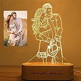 2 colori Personalizzato Foto personalizzata 3D lampada foto incisione Testo...