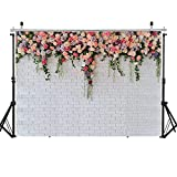 WOLADA 7x5FT Flower Wall Photography Backdrop White Brick Wall Backdrop Wedding Photo Backdrop Birthday Party Photography Backdrop Child Photo Backdrop Photography Studio Props 12092