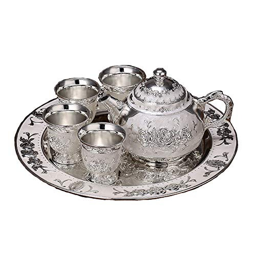 Tea Set wine set Silver coffee pot Tea Set Adult tea set cup body suitable as a gift-For Tea,Milk,wine SAfternoon tea4 cups 1 Teapot 1 Tray Can Drink Coffee Strong Tea