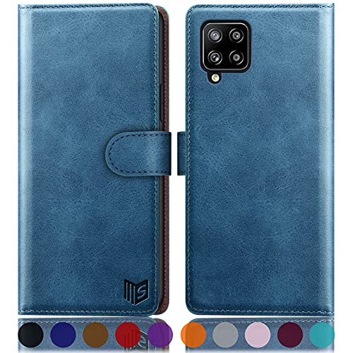 SUANPOT for Samsung Galaxy A42 5G with RFID Blocking Leather Wallet case Credit Card Holder, Flip Folio Book Phone case Shockproof Cover for Women Men for Samsung A42 5G case Wallet Sky Blue