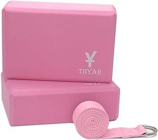 Tiiyar ヨガブロック (2個)+ヨガストラップ セット 全10色