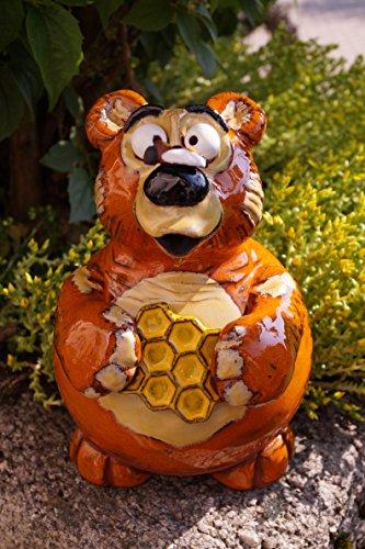Töpfer Keramik Honigbär Bruno mit Biene 17 cm Handarbeit Dekofigur Gartenstecker