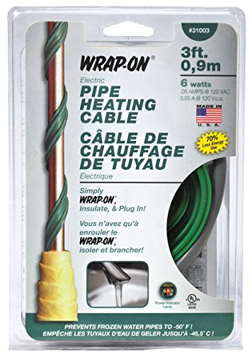 Wrap-On Pipe Heating Cable - 3-Feet, 120 Volt, Built-in Thermostat, Low Wattage - 31003 , Green