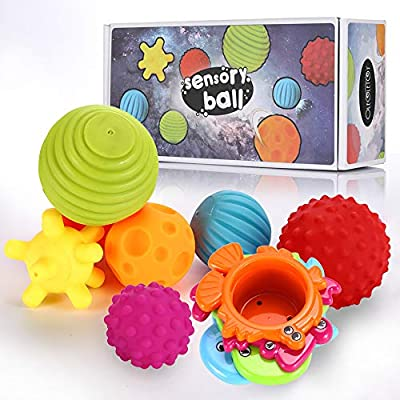 Sensory Balls for Kids - Textured Multi Ball Set for Babies & Toddlers, 6 Colorful Soft and Squeezy Sensory Toys with Stacking Cups - Stress Relief Toy for Kids & Sensory Balls for Toddlers