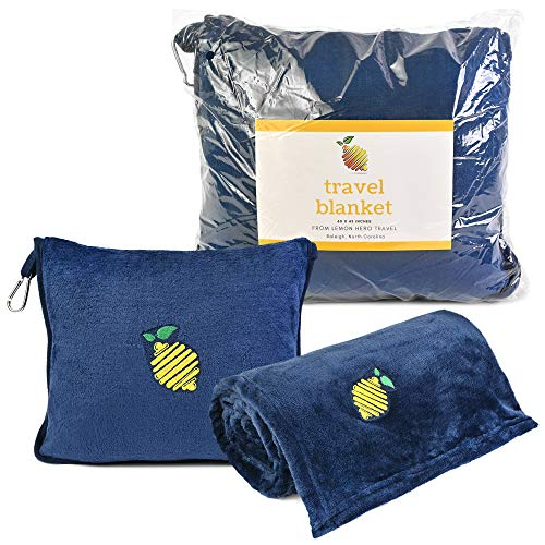 Premium Soft Travel Airplane Blanket. Compact Carry Bag Becomes a Pillow. Attaches to Carry On Luggage or Backpack. Ideal Office Blanket, Plane Blanket