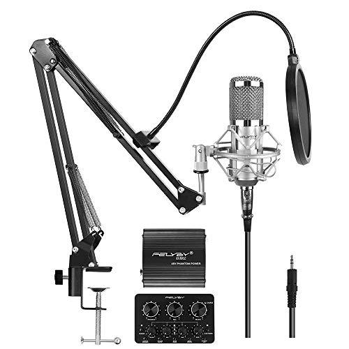 FELYBY Premium Kondensator Mikrofon, Cardioid Vocal Studio Mikrofon Kit Mit Phantomspeisung und Sound Mixer, Kompatibel mit PC/Laptop/Tablet/Smartphone, für Singen/Aufnehmen/Chatten/Youtube Video