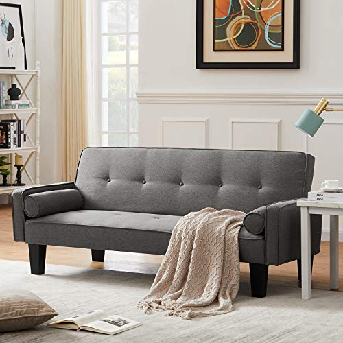 DKLGG Modern Futon Bed Convertible Love Seat Couch Folding Linen Fabric Sleeper Sofas with 2 Pillows Furniture for Living Room Small Apartment, Gray