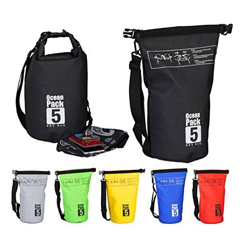 Relaxdays Ocean Pack, 5L, wasserdicht, Packsack, leichter Dry Bag, Trockentasche, Segeln, Ski, Snowboarden, schwarz