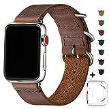 BesBand Retro Lederbänder Kompatibel mit Apple Watch Armband 42mm 44mm 38mm 40mm,Echtes Leder...