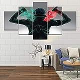 YQRX 5 Panel Impresiones sobre Lienzo Imprimir Pintura Arte De La Pared Imagen Modular Canvas Poster Decoración del Hogar Juego De Imágenes De Sword Art Online Navidad Cuadro/100X55CM