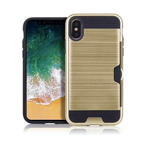 H-HX telefoonhoes beschermhoes, telefoonhoesje, ultradunne TPU + PC geborsteld textuur stootvaste beschermhoes met kaartsleuf voor iPhone X/XS (zwart), goud