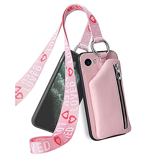 hongping Carcasa de Cartera de Cuero con para iPhone SE 2020 / iPhone 7 / iPhone 8- Funda Colgante para movil Carcasa- Colgar movil Cuello Funda con Correa Colgante con Cordon para Llevar en el Cuello