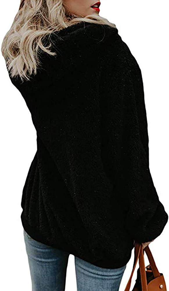 QIMANZI Kapuzenpullover Damen Teddy-Fleece Hoodie Sweatshirt Herbst Winter Mode Flauschig Oberteil Langarmshirt Pullover Tops mit Kapuze A Schwarz