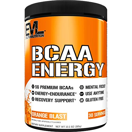 Evlution Nutrition BCAA Energy - Essential BCAA Amino Acids, Vitamin C, + Natural Energizers for Performance, Immune Support, Muscle Building, Recovery, B Vitamins, Pre Workout, 30 Serve, Orange Blast