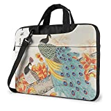 LAOLUCKY Laptop Bag Compatible Notebook Computer Backpack Briefcase Sleeve Carrying Case Shockproof Tablet Shoulder Bag - Chinese painting Peacock Bird China