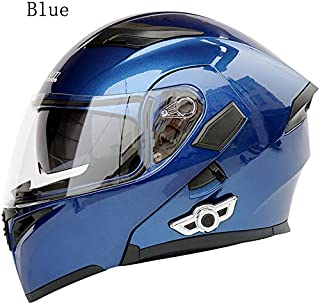 MOPHOTO Bluetooth Integrated Motorcycle Helmets, Anti-Glare Full Face Flip up Dual Visors Modular Bike Motorcross Helmets Intercom Helmet/Rider to Rider, Blue Medium (57-58cm)