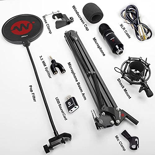 WRIGHT WR BM 800 Condenser Microphone with USB Sound Card Mic Stand and pop filter for wr bm 800 studio mic singing and podcast mike recording all set kit