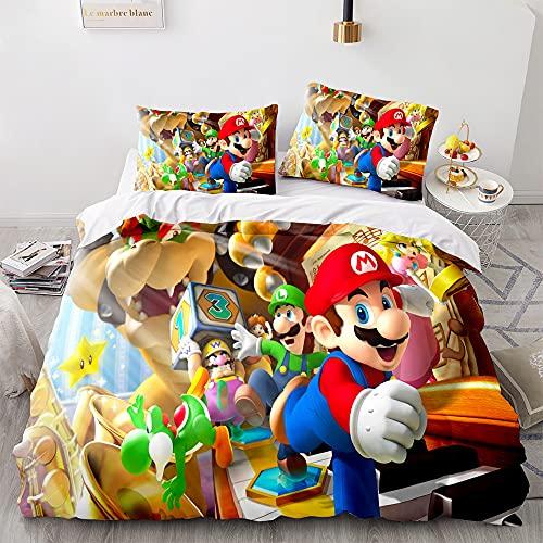 AZJMPKS Super Mario Bros - Juego de funda nórdica y funda de almohada, microfibra, impresión digital 3D Super Mario Bros Serie (A1, 135 x 200 cm + 75 x 50 cm)