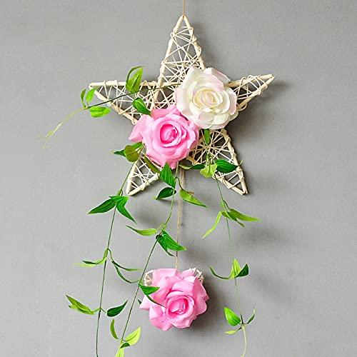 ZYZYZY Cinco Estrellas Colgante De Pared Flores Secas Plástico Ornamentos Flores Artificiales Ramo Casa Jardín Fiesta De Bodas Decoración Floral Decoración del Hogar Flores Falsas-C High 60-70cm