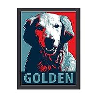 INOV 希望犬によるゴールデン リトリー アートパネル 壁掛け インテリア アートフレーム おしゃれ 絵画 額入り ブラックフレーム付き 部屋 壁面 30x40cm