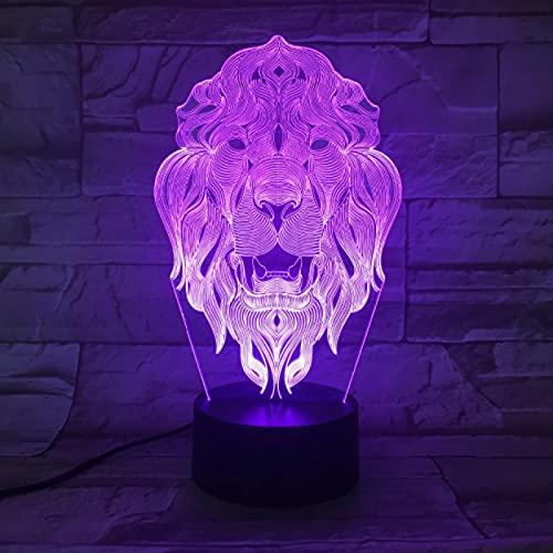 Lion Face Night Light 7 Colores Que Cambian Animal Led Night Lights 3D Led Lámpara De Mesa De Escritorio Como Decoración Del Hogar