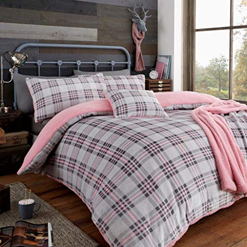 Artistic Fashionista* NEW Soft Warm & Cosy Teddy Fleece TARTAN HIGHLAND CHECK Duvet Quilt Cover Pillowcases Bedding Set (Pink, Double)