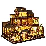 Septiembre - Casa de muñecas retro estilo japonés en miniatura con muebles, kit de casa de muñecas de madera con luz LED, escala 1:24 para regalo de cumpleaños
