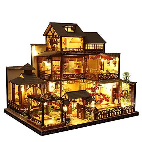 Casa de muñecas de estilo japonés en miniatura con muebles, casa de muñecas de madera DIY con luz LED, escala 1:24 para regalo de cumpleaños