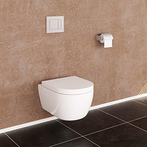 NEG Hänge-WC Uno11RK (Tiefspüler/randlos/kurz) Toilette ohne Unterspülrand mit Duroplast Soft-Close-Deckel und Nano-Beschichtung - 5
