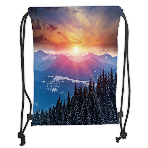 Fevthmii Drawstring Backpacks Bags,Winter Decorations,Sunset in Mountains with Hazy Lights with Magical Dawn Horizon Theme,Orange Blue Soft Satin,5 Liter Capacity,Adjustable String Closure,
