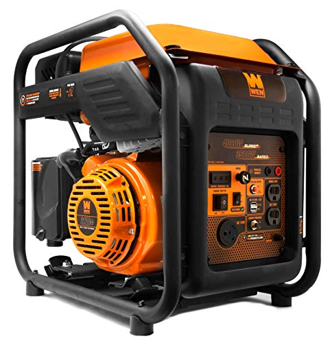 WEN GN400i RV-Ready 4000-Watt Open Frame Inverter Generator, CARB Compliant, Black/orange